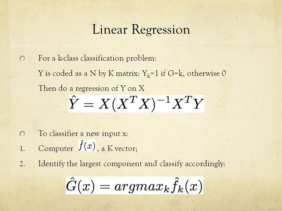 Linear Regression For a k-class classification problem: