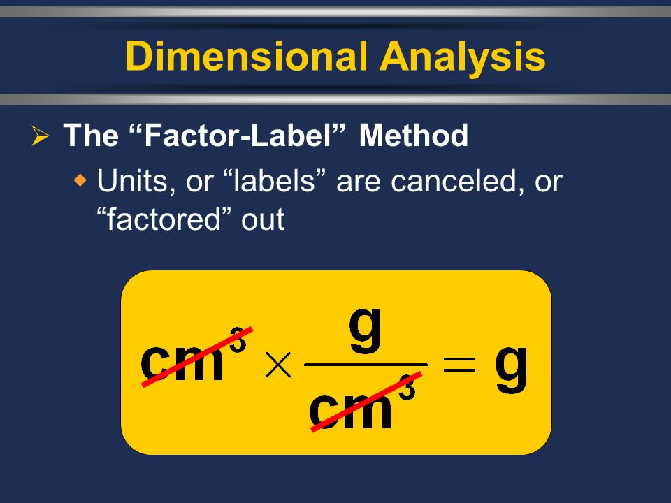 Dimensional Analysis The Factor-Label Method