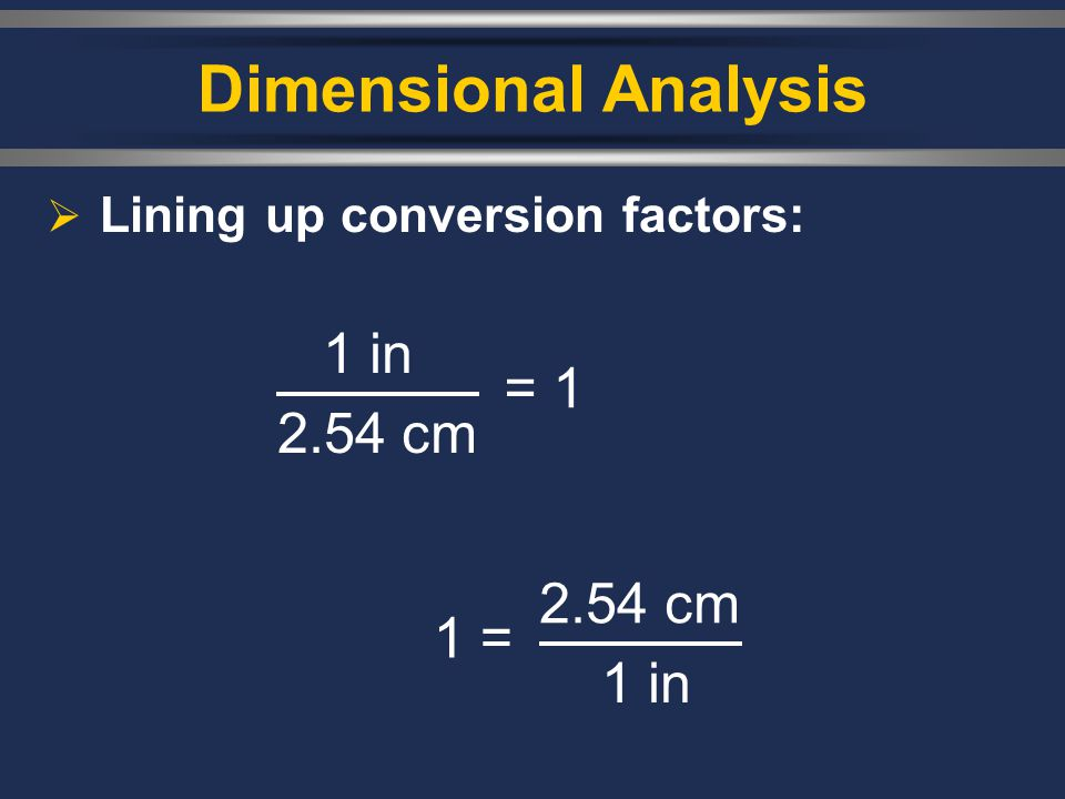 Dimensional Analysis 1 in = 2.54 cm = 1 2.54 cm 2.54 cm 1 in = 2.54 cm