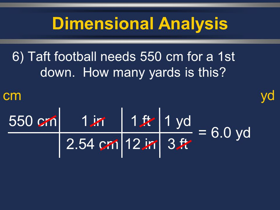 Dimensional Analysis 550 cm 1 in 2.54 cm 1 ft 12 in 1 yd 3 ft = 6.0 yd