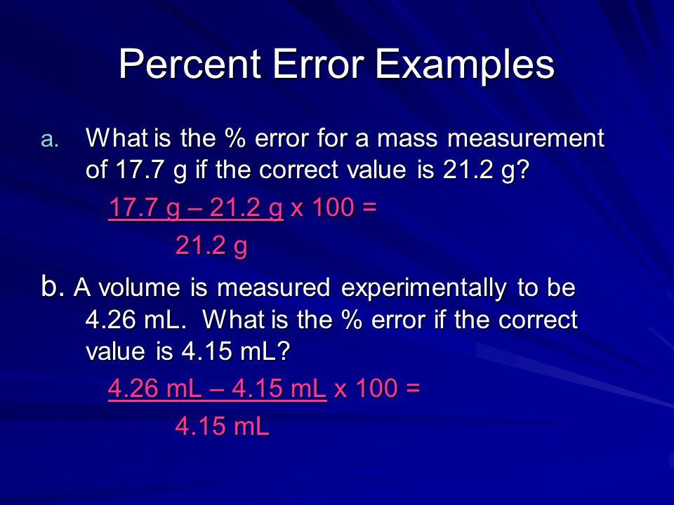 Percent Error Examples