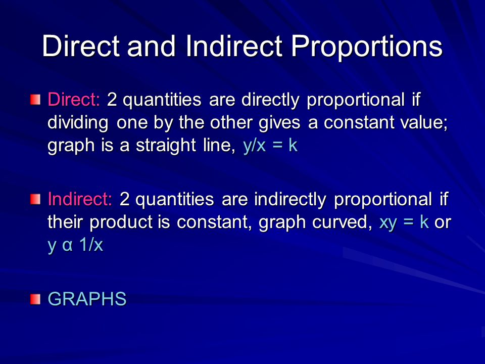 Direct and Indirect Proportions