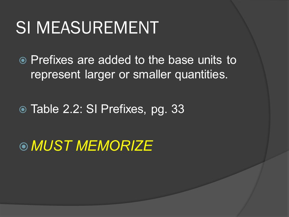 SI MEASUREMENT MUST MEMORIZE
