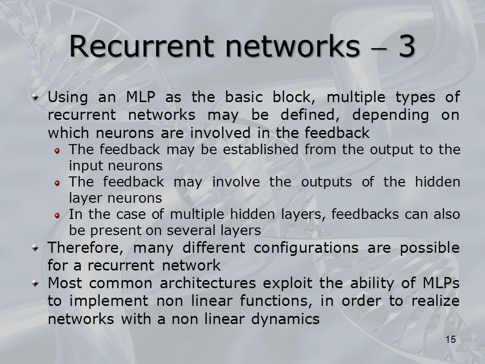Recurrent networks  3