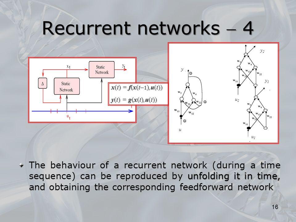 Recurrent networks  4 y2. y. y1. x(t) = f(x(t1),u(t)) y(t) = g(x(t),u(t)) u2. u. u1.