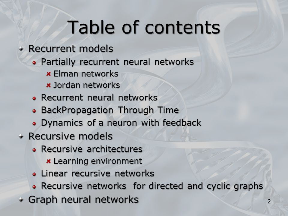Table of contents Recurrent models Recursive models