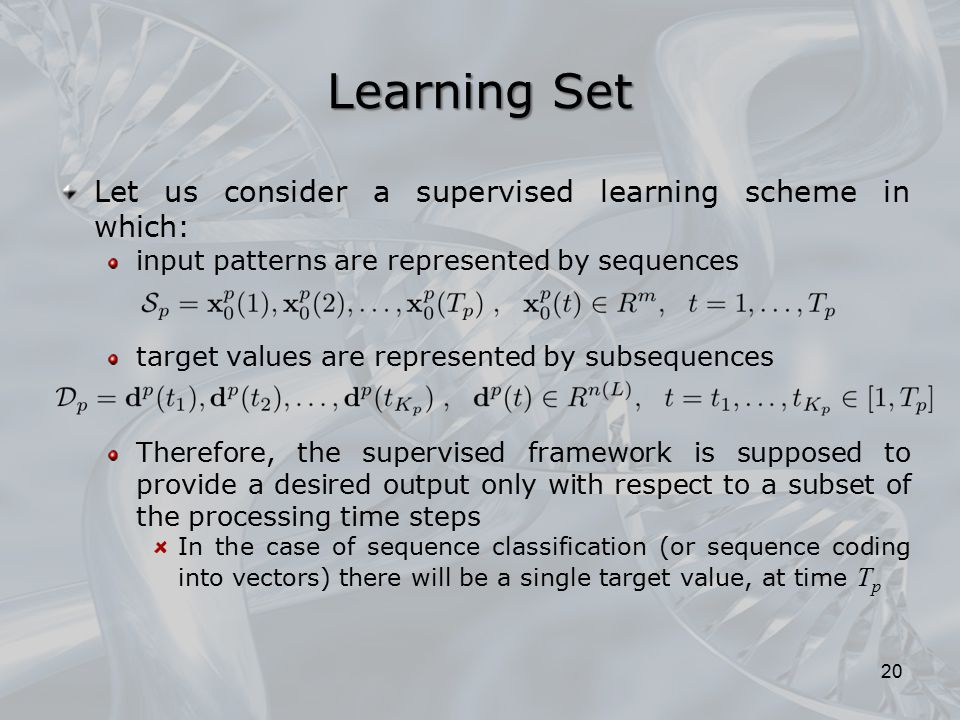 Learning Set Let us consider a supervised learning scheme in which: