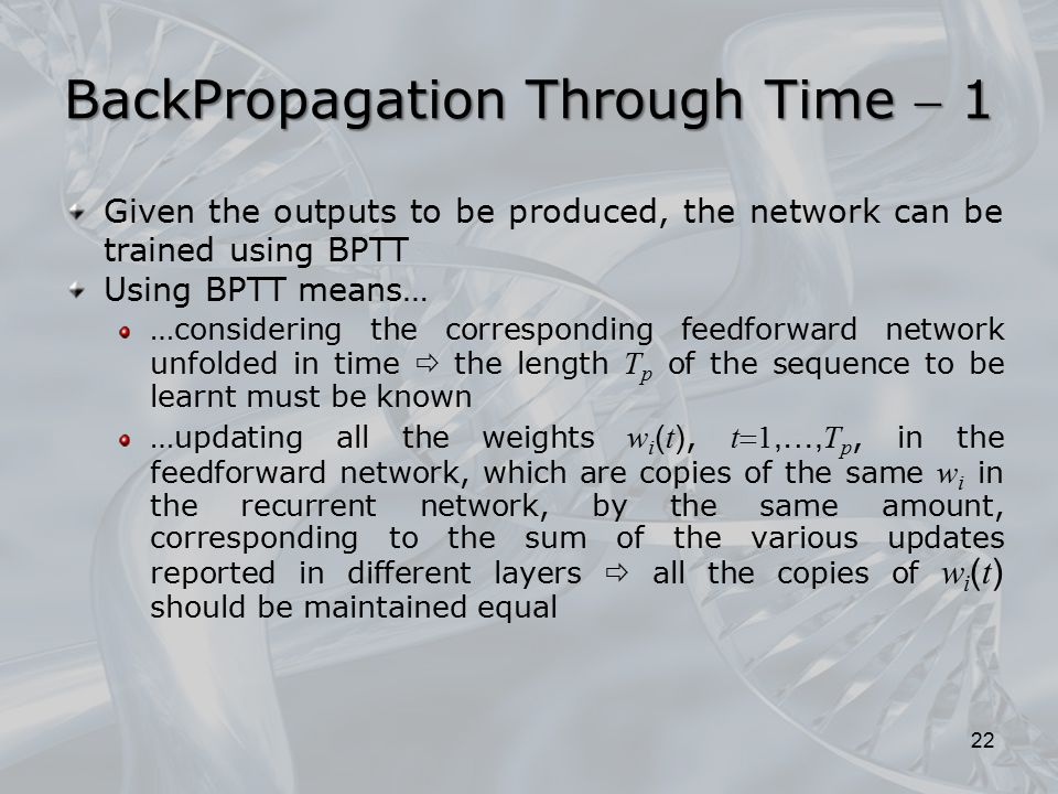 BackPropagation Through Time  1