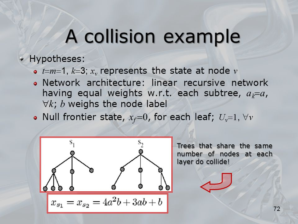 A collision example Hypotheses: