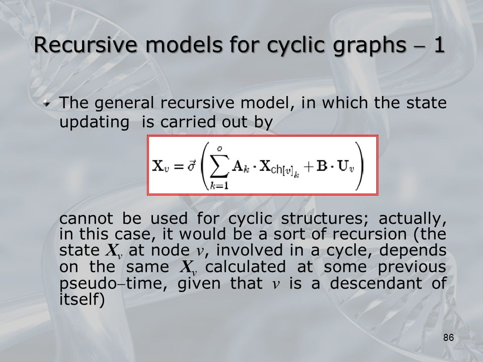 Recursive models for cyclic graphs  1