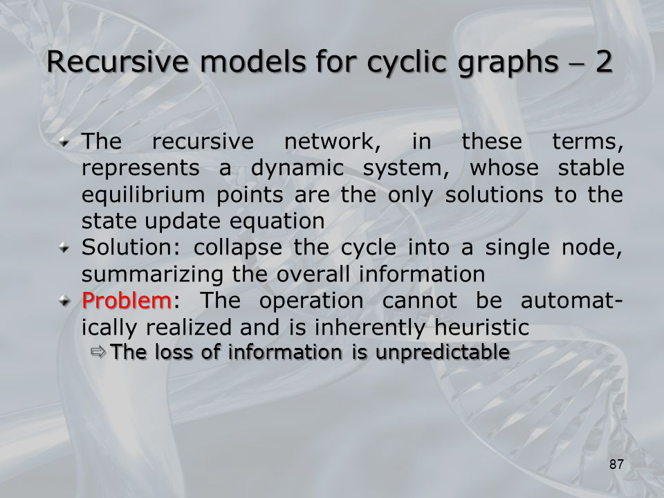 Recursive models for cyclic graphs  2