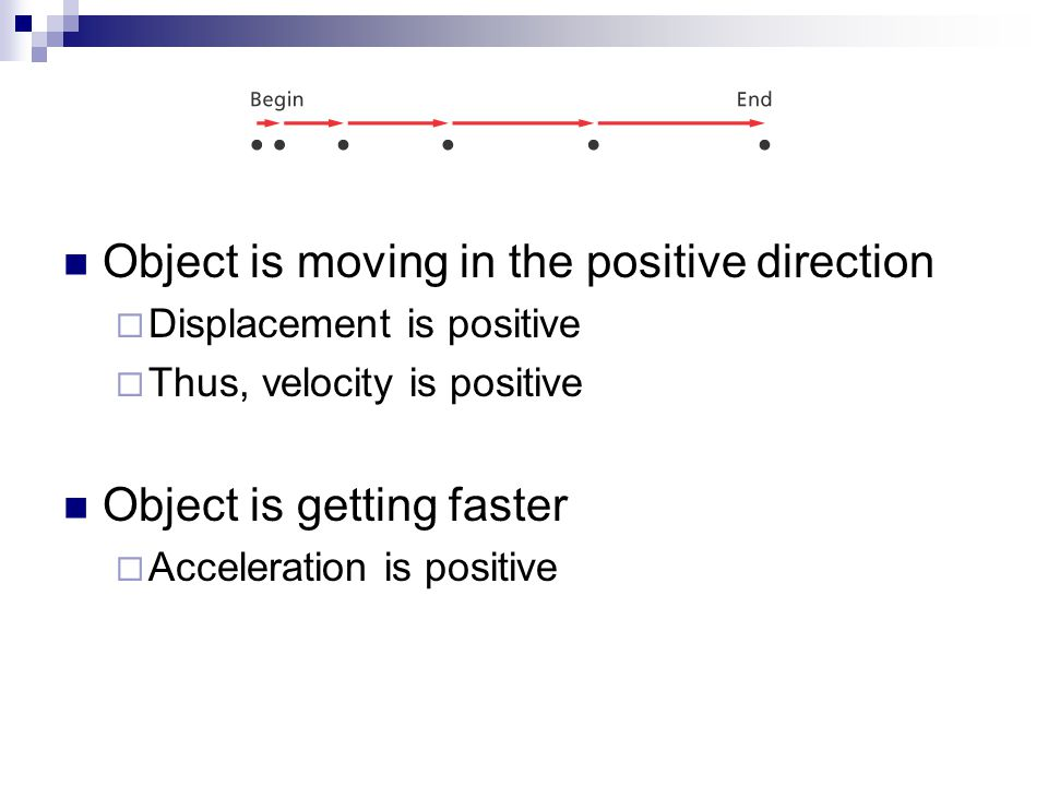 Object is moving in the positive direction