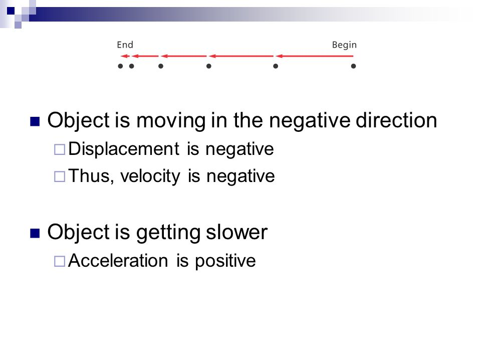 Object is moving in the negative direction