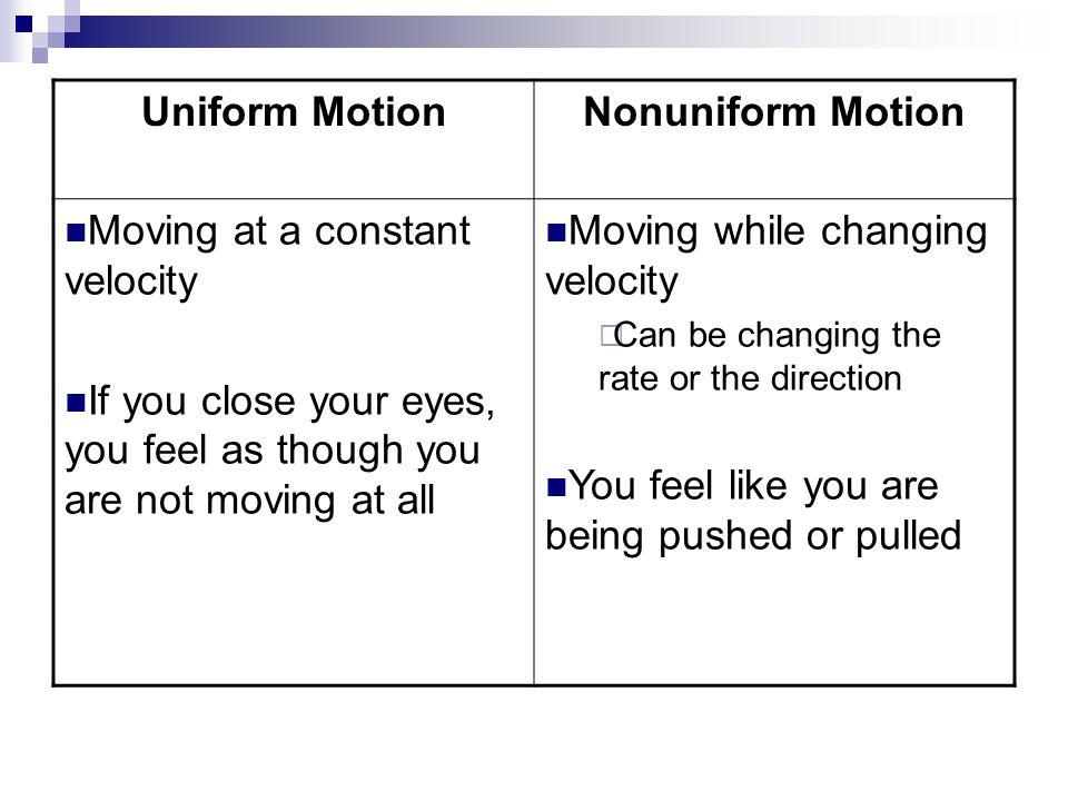 Uniform Motion Nonuniform Motion