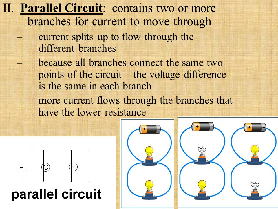 II. Parallel Circuit: contains two or more branches for current to move through