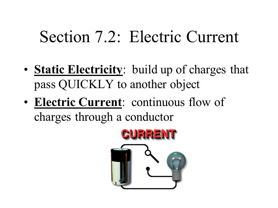 Section 7.2: Electric Current