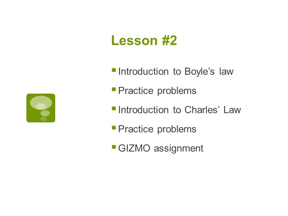 Lesson #2 Introduction to Boyle's law Practice problems