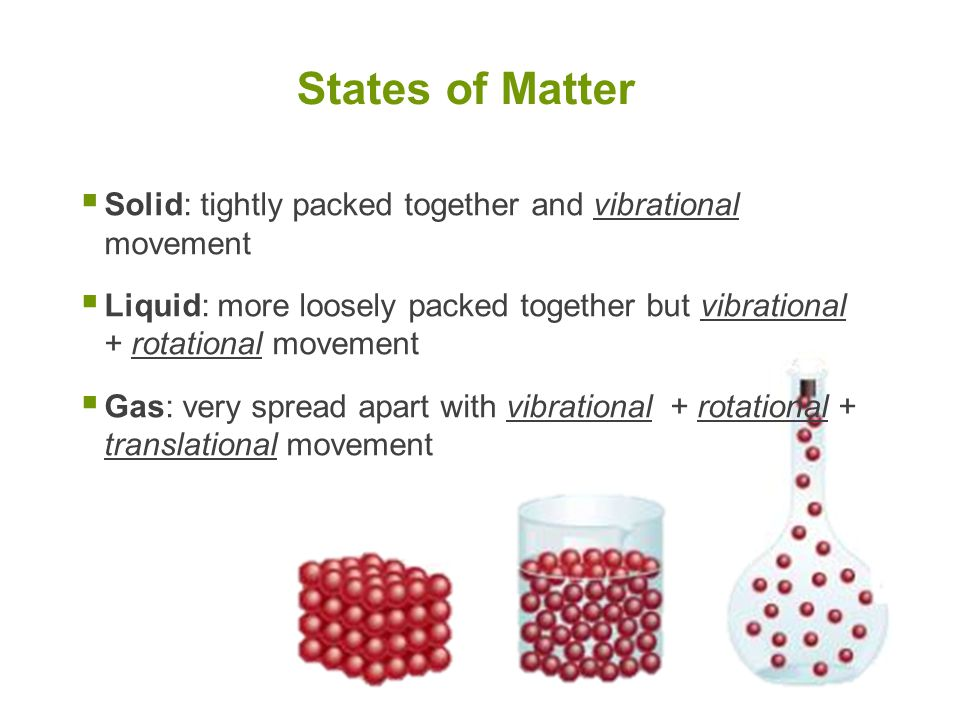 States of Matter Solid: tightly packed together and vibrational movement.