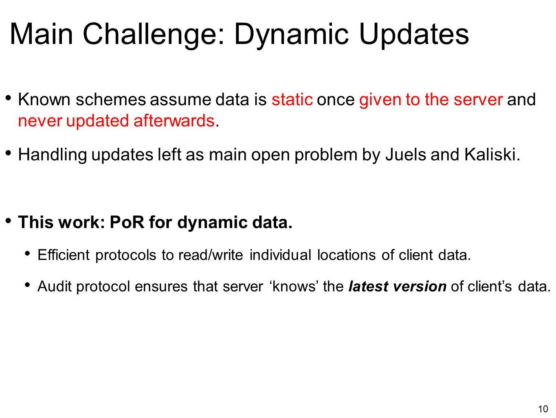Main Challenge: Dynamic Updates