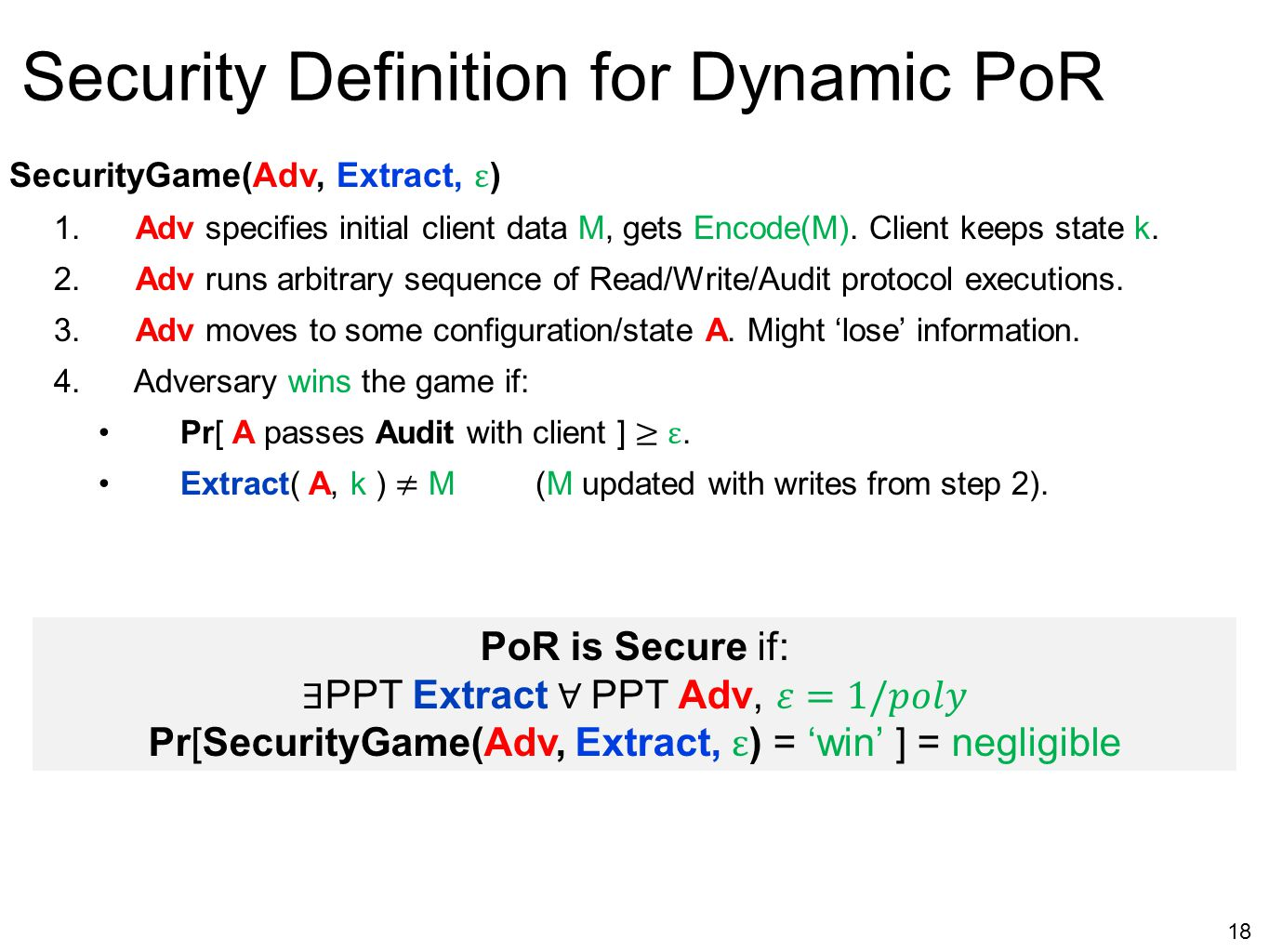 Security Definition for Dynamic PoR