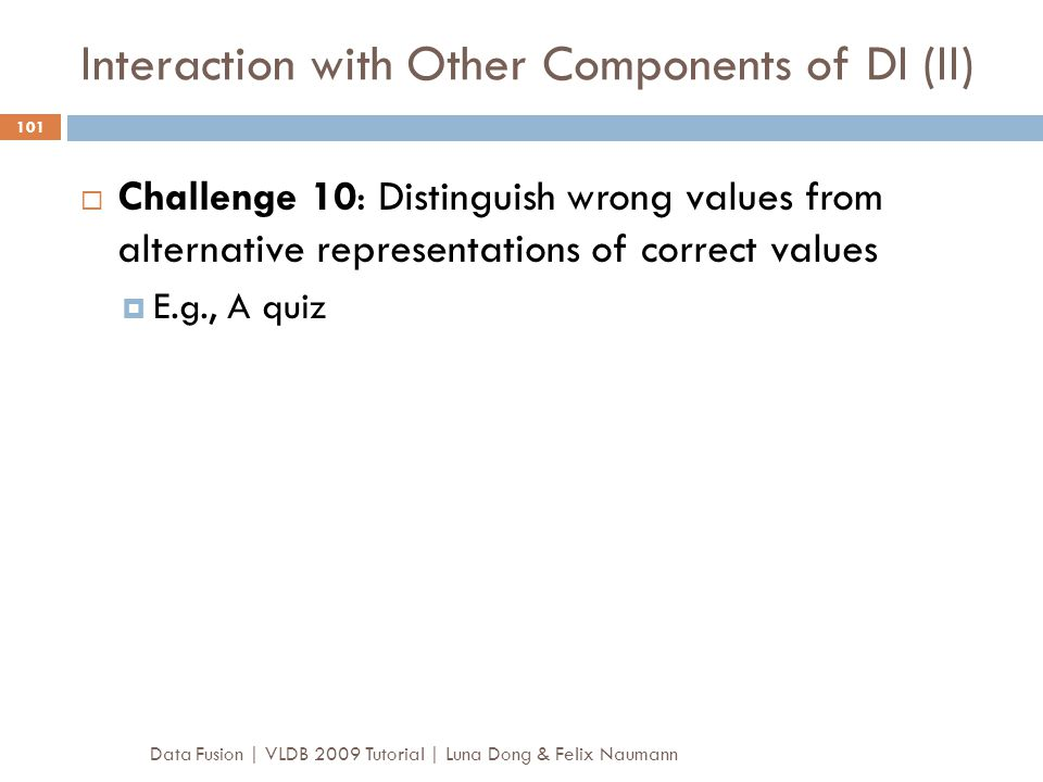 Interaction with Other Components of DI (II)
