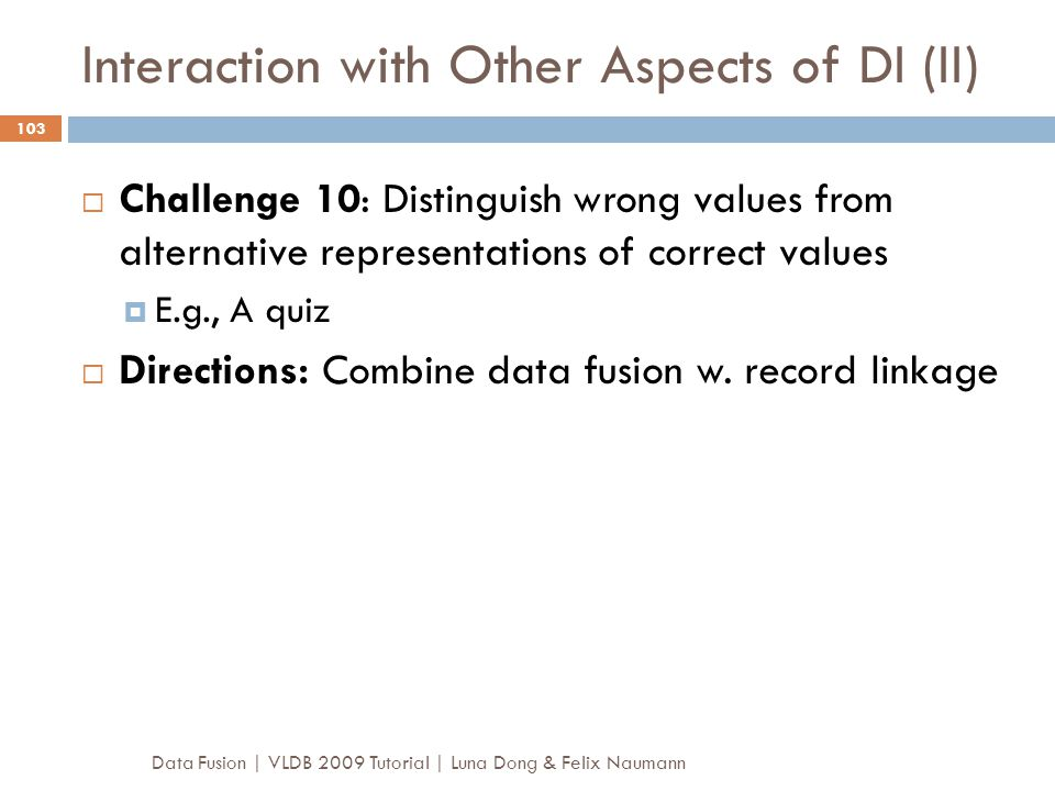 Interaction with Other Aspects of DI (II)