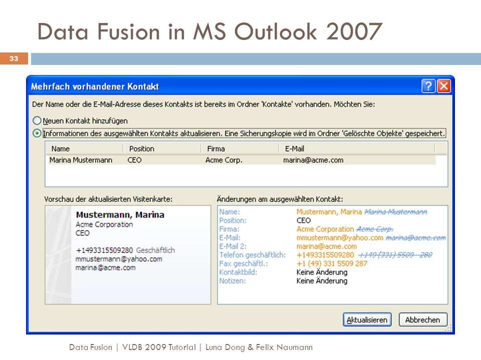 Data Fusion in MS Outlook 2007