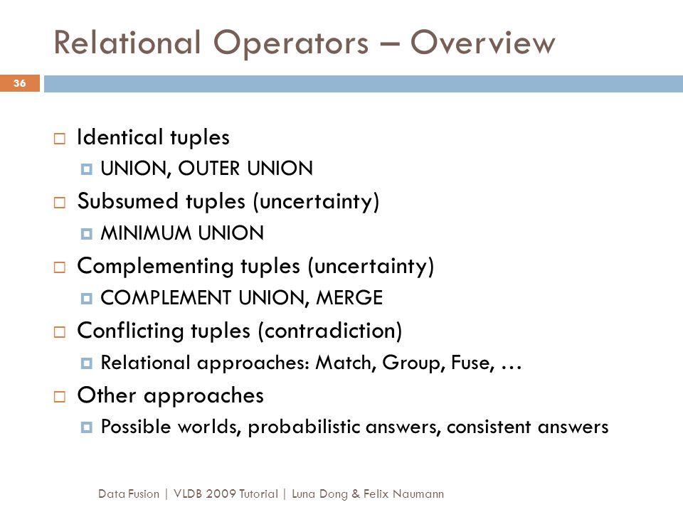 Relational Operators – Overview