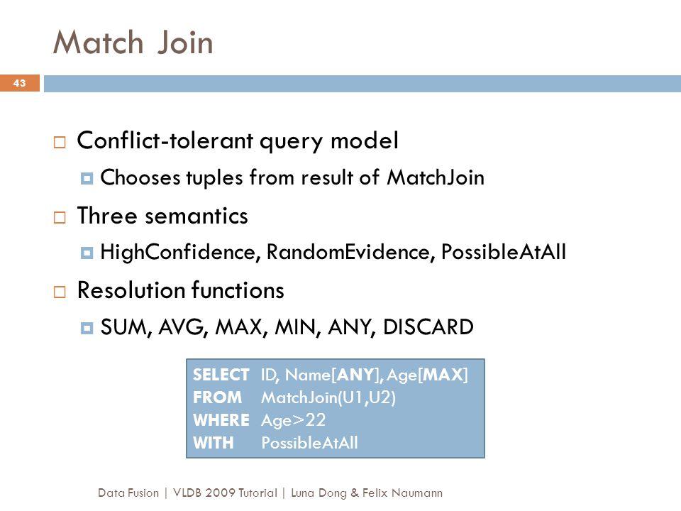 Match Join Conflict-tolerant query model Three semantics
