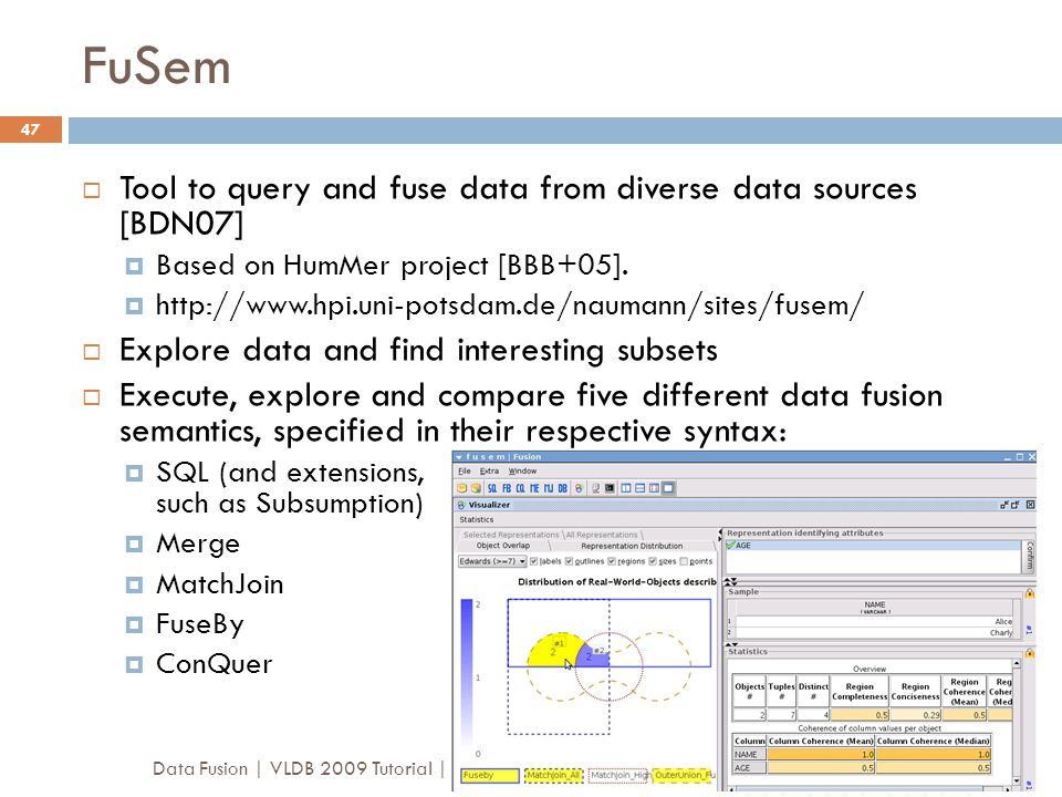 FuSem Tool to query and fuse data from diverse data sources [BDN07]