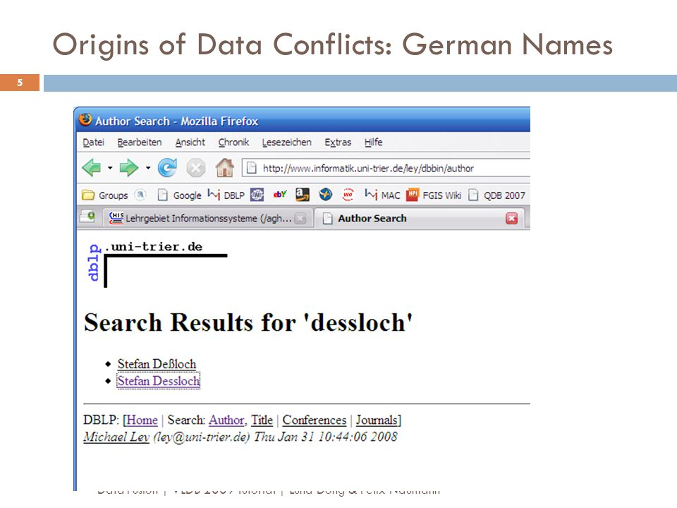 Origins of Data Conflicts: German Names