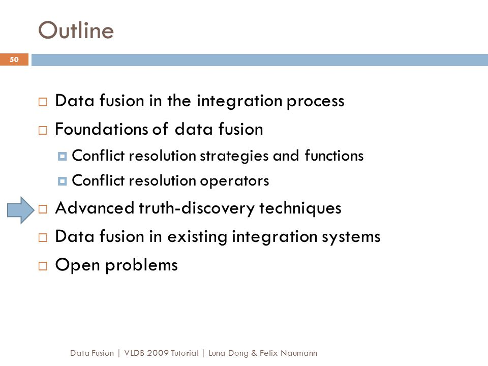 Outline Data fusion in the integration process