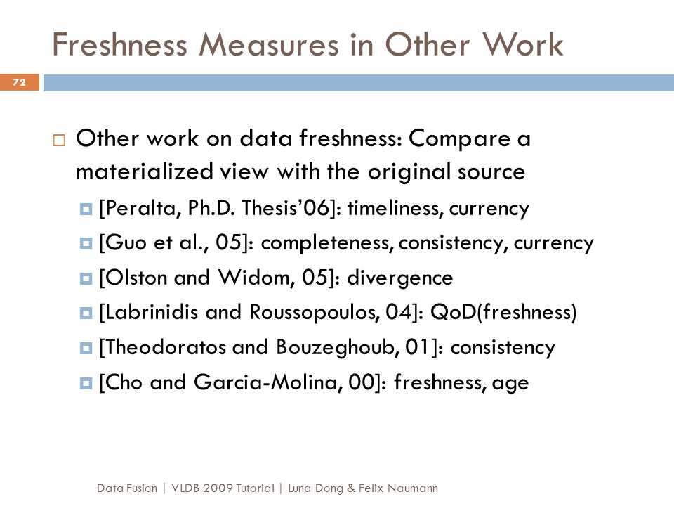 Freshness Measures in Other Work