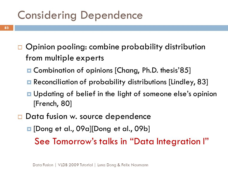 Considering Dependence
