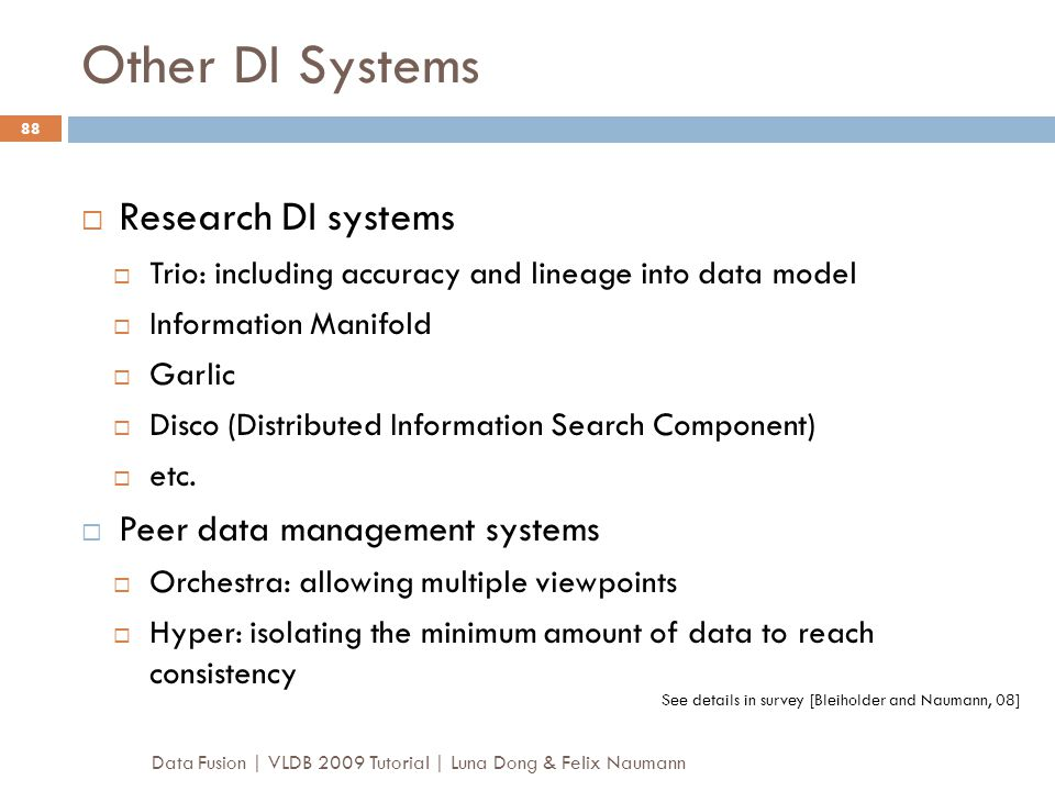 Other DI Systems Research DI systems Peer data management systems