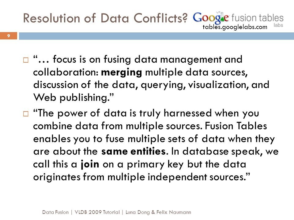 Resolution of Data Conflicts