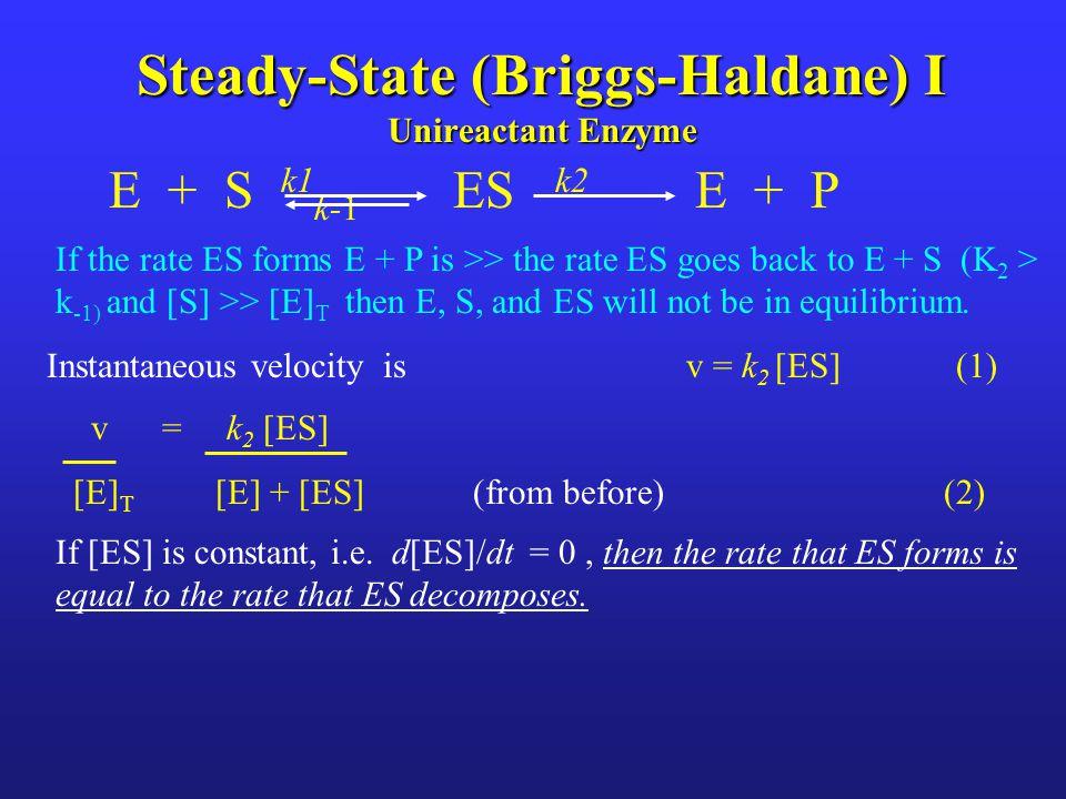 Steady-State (Briggs-Haldane) I Unireactant Enzyme