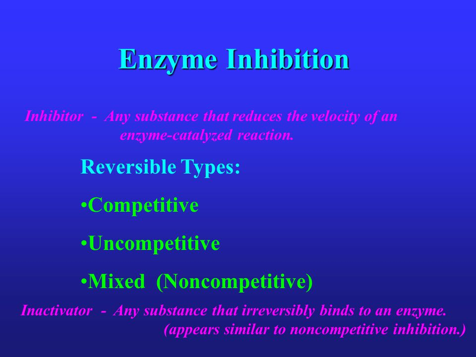 Enzyme Inhibition Reversible Types: Competitive Uncompetitive