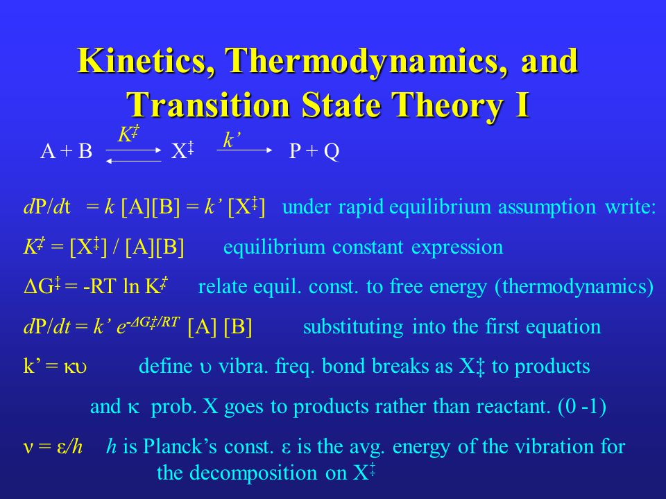Kinetics, Thermodynamics, and Transition State Theory I
