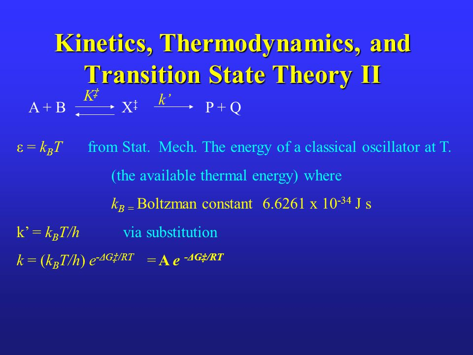 Kinetics, Thermodynamics, and Transition State Theory II