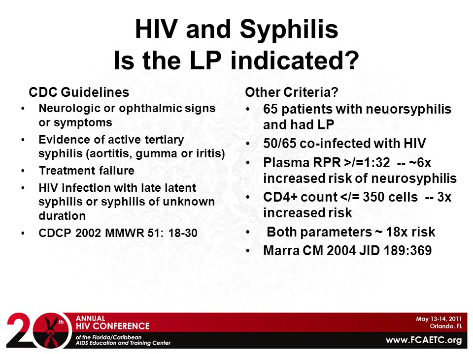 HIV and Syphilis Is the LP indicated