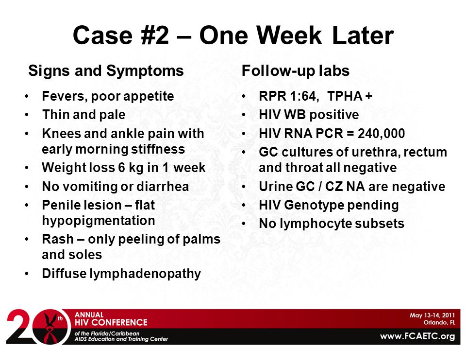 Case #2 – One Week Later Follow-up labs Signs and Symptoms