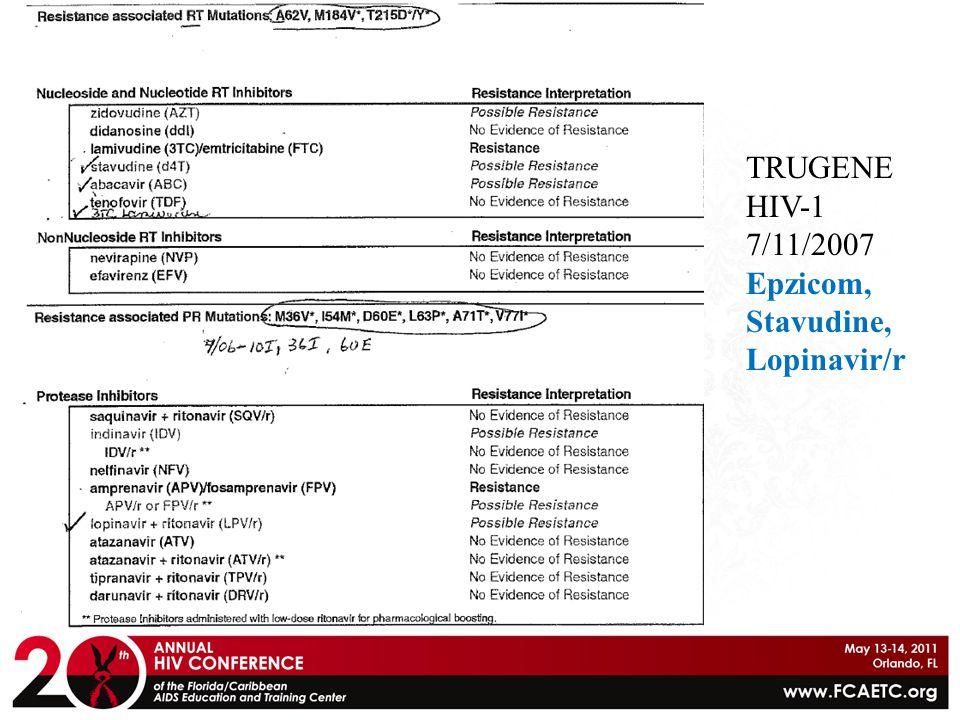 TRUGENE HIV-1 7/11/2007 Epzicom, Stavudine, Lopinavir/r