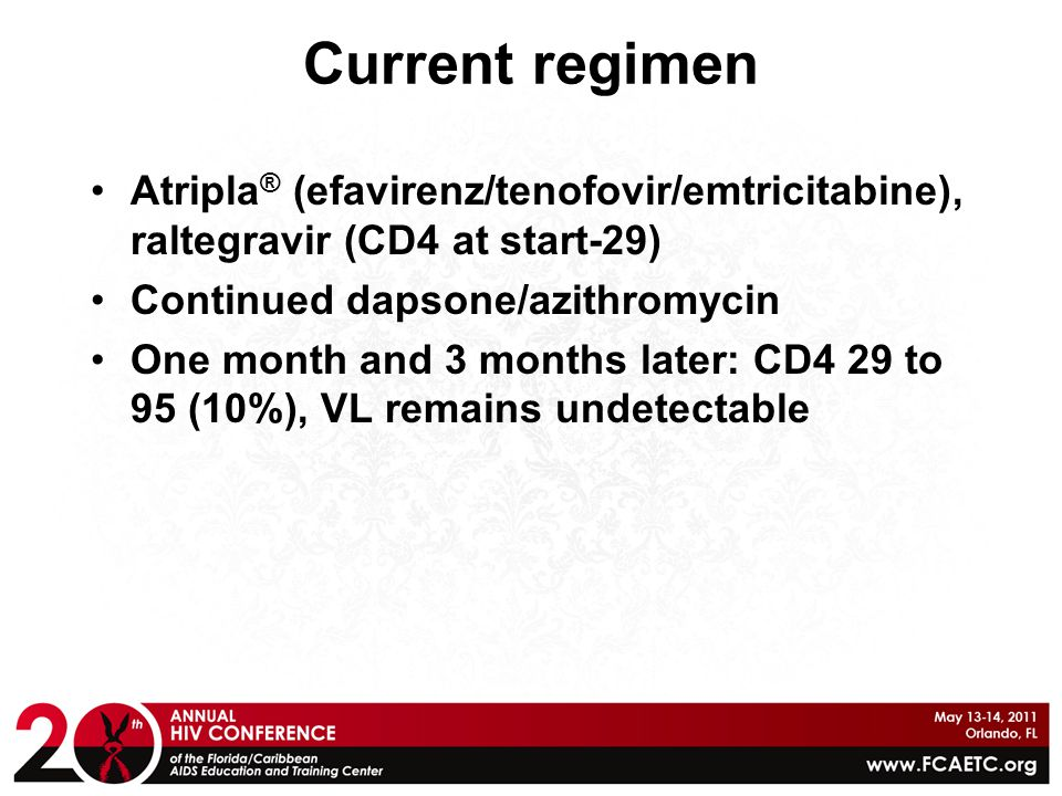 Current regimen Atripla® (efavirenz/tenofovir/emtricitabine), raltegravir (CD4 at start-29) Continued dapsone/azithromycin.