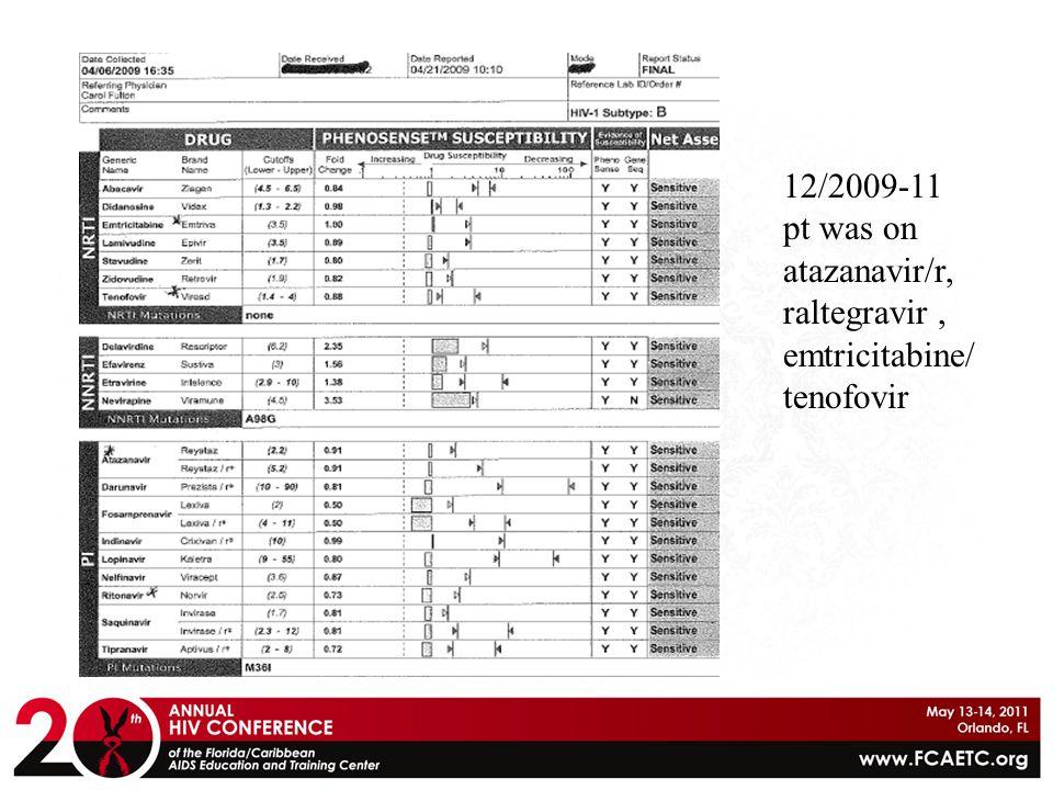 12/2009-11 pt was on atazanavir/r, raltegravir , emtricitabine/ tenofovir