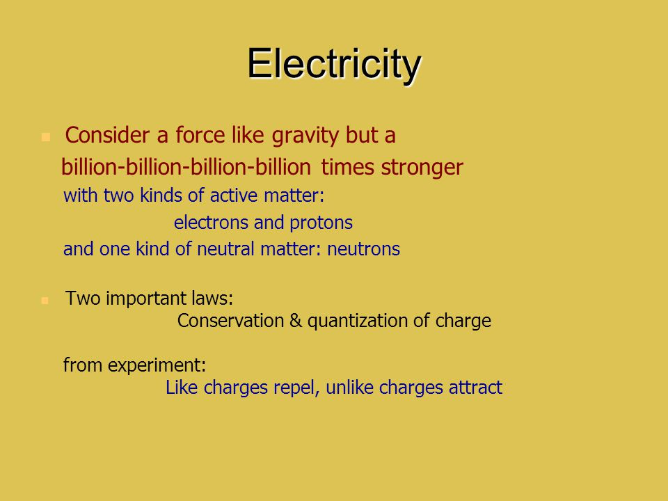Electricity Consider a force like gravity but a