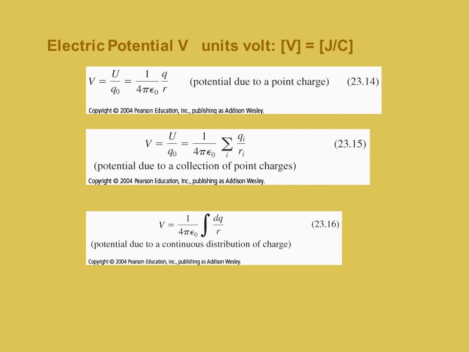 Electric Potential V units volt: [V] = [J/C]