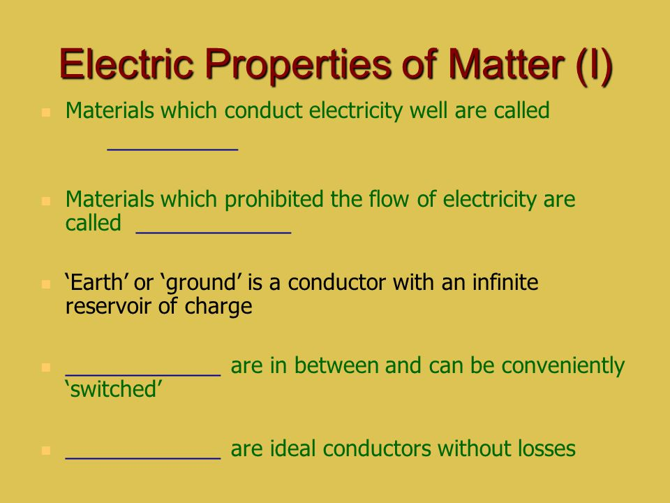 Electric Properties of Matter (I)