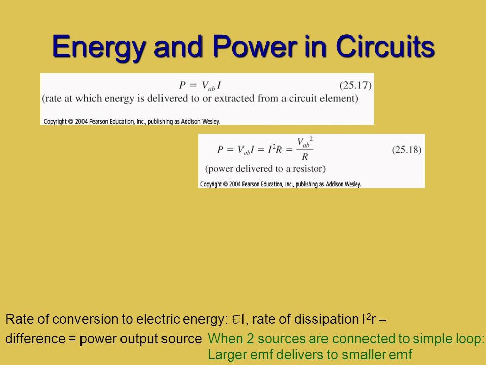 Energy and Power in Circuits