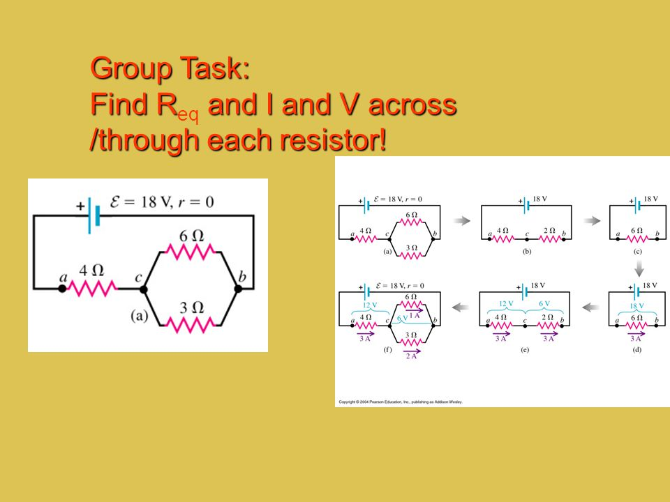 Group Task: Find Req and I and V across /through each resistor!